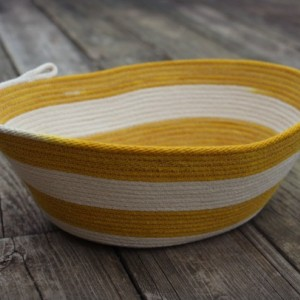 coiled rope basket, natural white and yellow, turmeric dyed