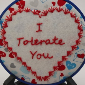 "Snarky ""I Tolerate You"" Modern Embroidery Hoop Wall Hanging Decor. Made to Order"