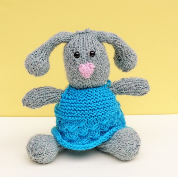 Knit Bunny, Wool Knitted Bunny with Clothes, Stuffed Animal, Bunny with Clothes, Wool Toy, Plush Toy, Kids Toy, All Handmade, Ready to Ship