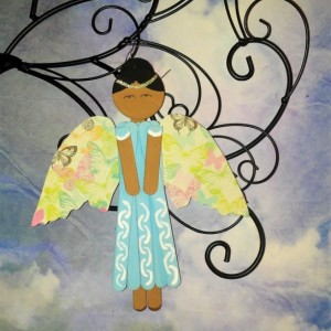 Wood Angel in Light Blue Dress / Butterfly Wings / Personalized Hanging Angel Art / Ethnic Angel Decor