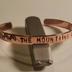 The mountains are calling, personalized copper handstamped cuff