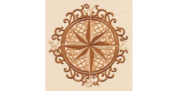 Embroidered Patch / applique - intrepid journey compass - sew, glue or iron on patch