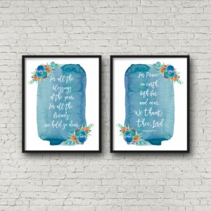 We Thank Thee Lord Hymn Lyric Word Art Wall Decor 8X10 Print Watercolor Floral Christian Religious