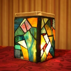 Stained Glass Jar Candle Holder, Mosaic Beach Jar Candle Holder /vase/ pencil holder