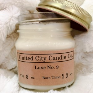 Luxe No. 9 -- Luxurious silky warm vanilla and brown sugar heated to perfection. 100% soy candle. United City Candle Co. Made in USA