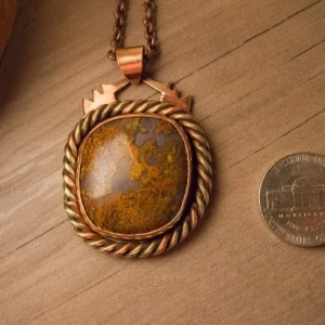 Red Moss Agate Copper Brass Pendant Amulet Necklace Handmade