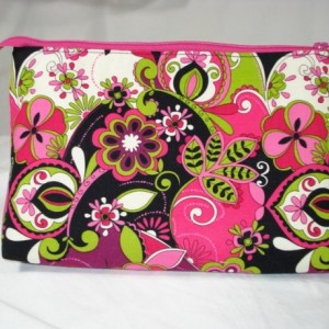Bright Hot PINK, BLACK and LIME green floral print Cosmetic Bag , Bridesmaid Gift, Holiday Gift, Toiletry Bag, Pencil Case, Travel Bag