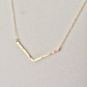 "14k Gold Fill Shallow V Chevron Bar Necklace, Hammered, Boho,Minimalist,Great for Layering, Choice of Necklace Length: 16"", 18"" or 20"""
