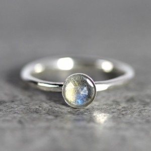 Labradorite Stacking Ring - Labradorite Ring - Labradorite Solitaire Ring