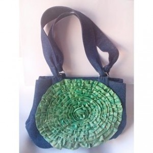 Denim Shoulder Bag with fabric flower