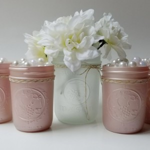 Champagne Pink Frosted Mason Jars Set of 5 - Baby Girl Shower - Bridal Shower Decor - Pink Vases - Tabletop Decor - Shower Centerpiece