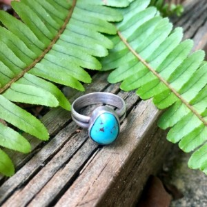 Kingman Turquoise Sterling Silver Band Ring Size 6 1/2 6.5
