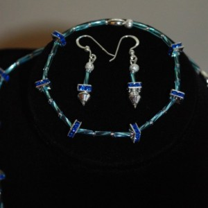 Necklace 3pc. Set Sterling Silver & Sapphire