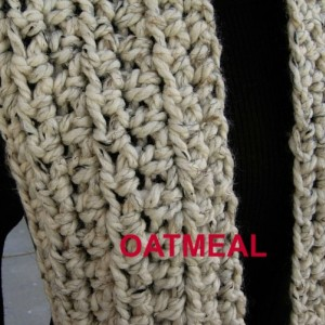 INFINITY SCARF Cowl Loop, Off White Wheat with Black, Color Options, Thick Soft Wool Blend, Crochet Knit Winter Circle, Neck Warmer..Ready to Ship in 2 Days