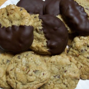 My Famous Chocolate Dipped Chocolate Chip Pecan Cookie