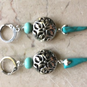 Long earrings made with Turquoise spike beads #E00340
