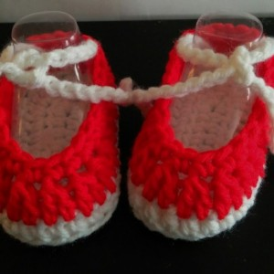 Baby Booties - Ballet Slippers - Red and White
