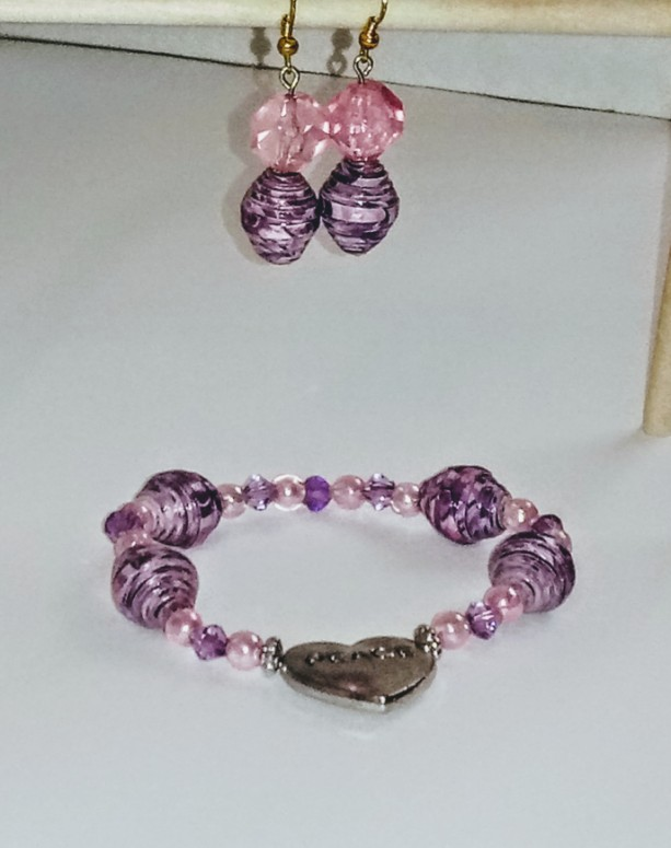 """""""Purple, Pink, and Peace"""" Earring and Bracelet Set"""