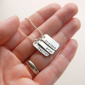 Hand Stamped Mini Dog Tag Silver Name Necklace