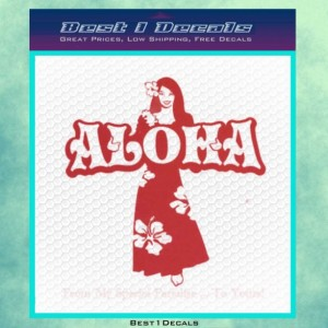 Aloha Lady Hawaii Decal Bumper Sticker Vinyl