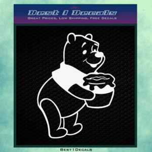 Winne the Bear and a Pot of Honey Decal Bumper Sticker