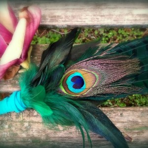 Smudge Fan-Pheasant-Peacock Feather Accent-Blue Green-Cruelty-free feathers