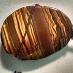 tiger eye pendant  copper wrapped pendant