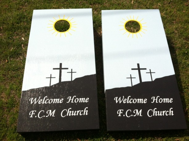 Custom made Cornhole Boards Set--Church