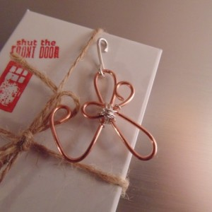 Wire Wrapped Pendant, Natural Copper and Sterling Silver, Initial Necklace