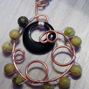 Wire Wrapped Necklace, Natural Copper, Black Agate and Cat's Eye Pendant
