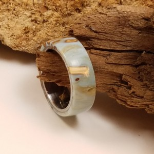 Size 8 1/4  olive twigs set in baby blue and gold resin on a stainless comfort fit band