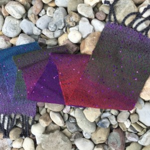 Sequin Handwoven Scarf Purple Blue Green Red