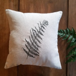 Embroidered Fern Pillow Cover - size 16x16