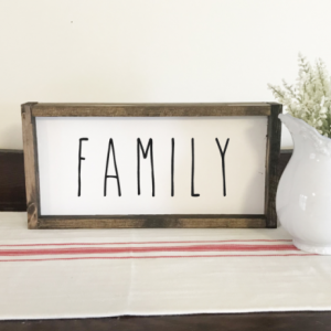 FAMILY WOOD SIGN, DISTRESSED FARMHOUSE STYLE SIGN, FRAMED