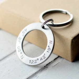 Hand Stamped Stainless Steel Circle Coordinates Key Chain