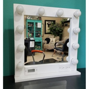 WHITE  24 x 24 Lighted Hollywood style Glamour vanity mirror