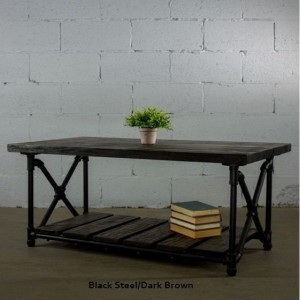 "Industrial Chic Coffee Table, 46"" long x 24"" deep x 19.5"" tall, Metal Pipes and Reclaimed/Aged Wood Finish"