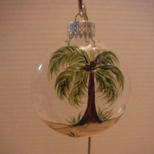 Ornament, glass, Palm Trees, hand painted