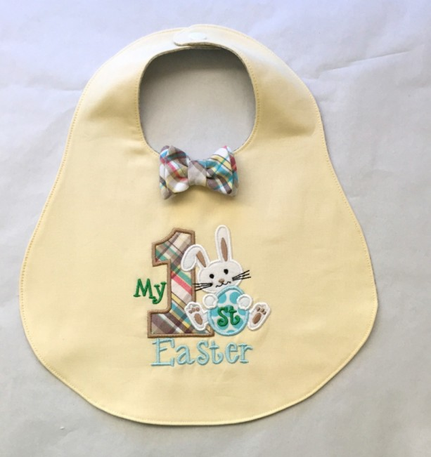My First Easter Bib with optional Coordinating Diaper Cover in Soft Yellow and Plaid
