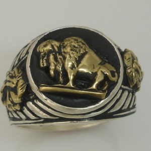 10 Karat Gold Buffalo Native Warrior sterling silver Pinky Signet ring