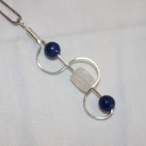 Moonstone Pendant, Lapis Pendant, Moonstone Necklace, Lapis Lazuli Necklace
