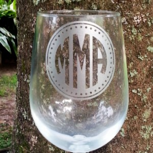 Monogrammed Wine Glass, Etched Glassware, Personalized Beer Glass, Cocktail Glass