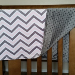 Baby blanket, pink and gray chevron with dot material