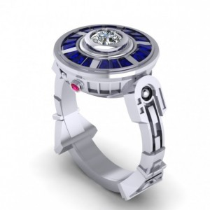 Sterling Silver Ring, Ruby and Sapphire Ring, Sci Fi Theme Jewelry, Droid Ring, Geek Jewelry, Robot Shaped Ring, Silver Jewelry