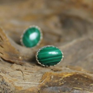 Sterling Silver and Malachite Stud Earrings