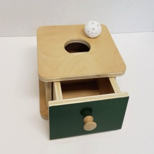 Montessori Imbucare Box with Ball and Drawer - Infants Montessori Object Permanence Box -  (OP101)