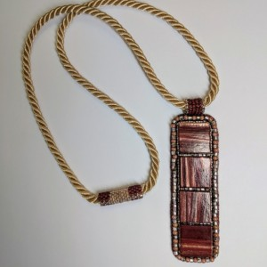 Maroon and rose gold bead embroidery vertical bar pendant necklace