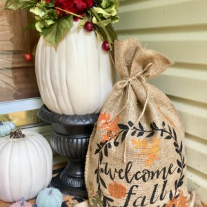 Burlap Bag welcome Fall