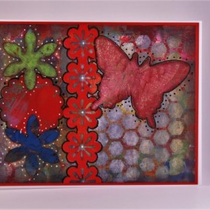 Two flowers, scalloped circle, lined flowers & butterfly