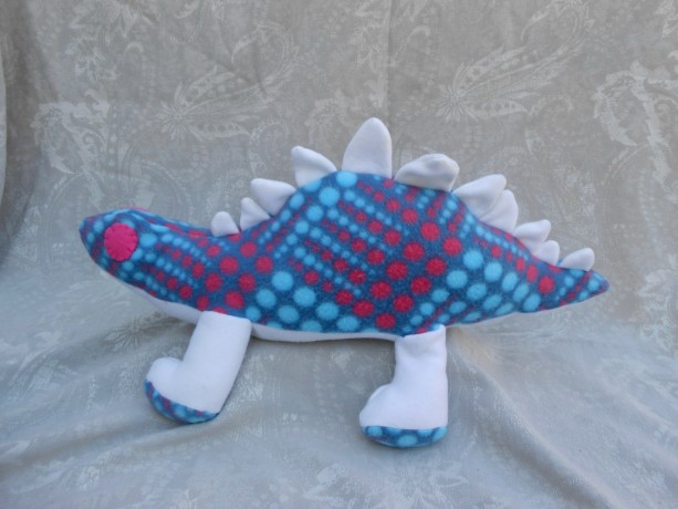 Large Dinosaur with Pink and Aqua Pot-a-dots On Blue with White Accents
